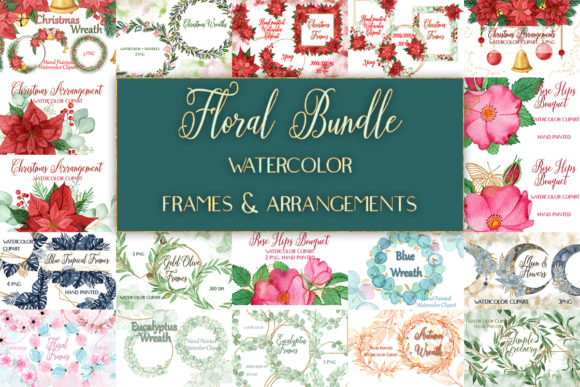 Watercolor Floral Frames Bouquets Bundle  von outlander1746