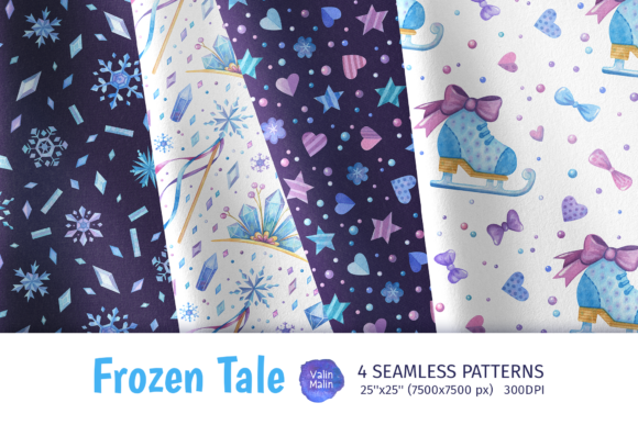 Print on Demand: Watercolor Winter Seamless Patterns Graphic Patterns By ValinMalin