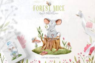 Print on Demand: Watercolor Cute Mouse Clipart. Mice Set Graphic Illustrations By Tiana Geo