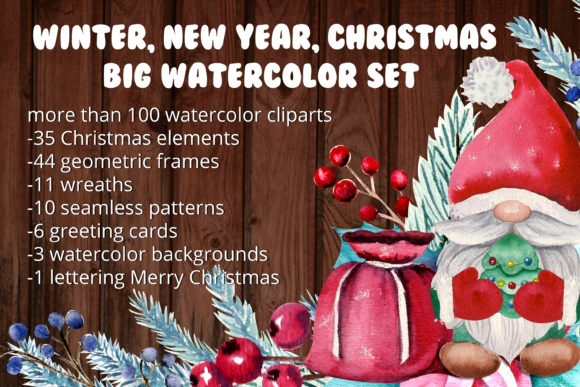 Print on Demand: Winter, Christmas. Big Watercolor Set Graphic Illustrations By Natika_art