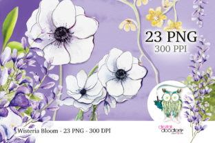 Print on Demand: Wisteria Wish Watercolor Flowers Graphic Illustrations By Digital Doodlers