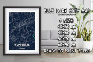 Print on Demand: Wuppertal - Germany Blue Dark City Map Graphic Photos By tienstencil