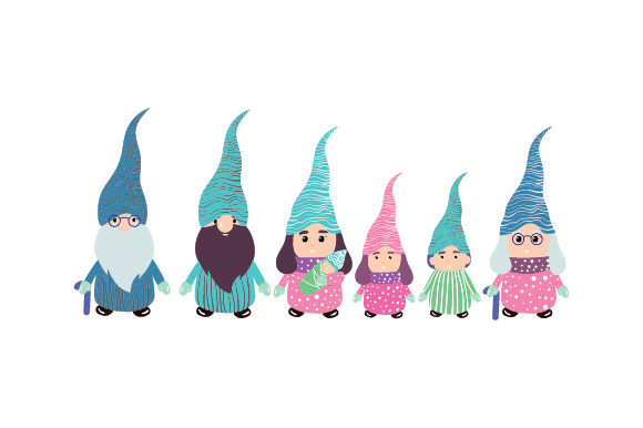 Gnome Family Designs & Drawings Craft Cut File By Creative Fabrica Crafts