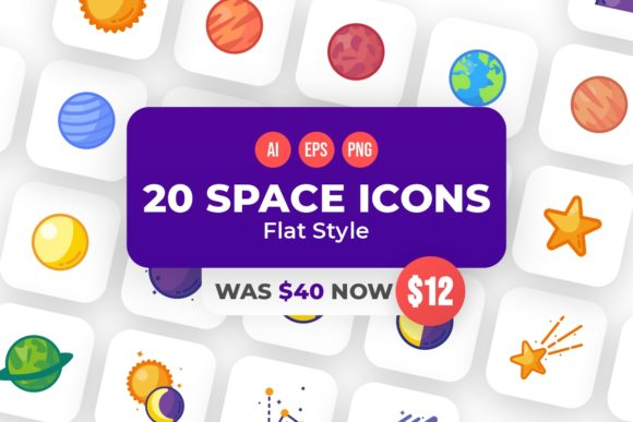 Print on Demand: 20 Space Flat Style Icons  von YDNTKWIA