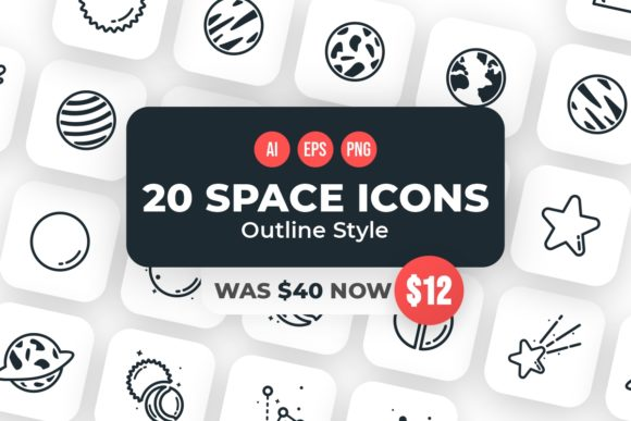Print on Demand: 20 Space Outline Style Icons  von YDNTKWIA
