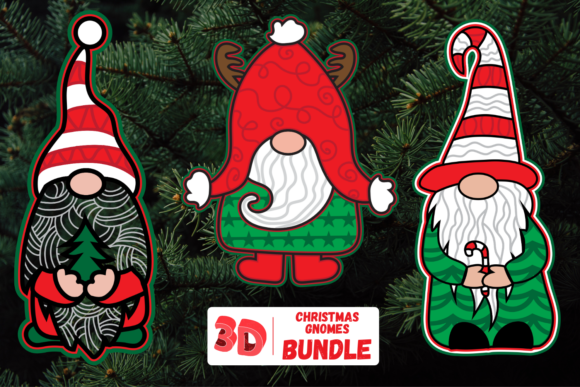 3D Christmas Gnomes SVG Bundle Graphic Crafts By SvgOcean