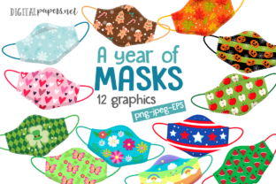 Print on Demand: A Year of Masks Clipart Set Graphic Illustrations By DigitalPapers