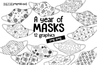 Print on Demand: A Year of Masks Outlines Clipart Set Graphic Illustrations By DigitalPapers