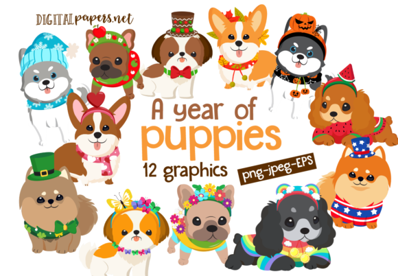 Print on Demand: A Year of Puppies Clipart Set Graphic Illustrations By DigitalPapers