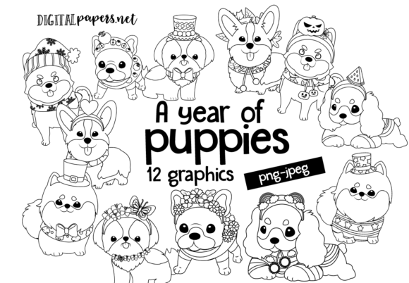Print on Demand: A Year of Puppies Outlines Clipart Set Graphic Illustrations By DigitalPapers