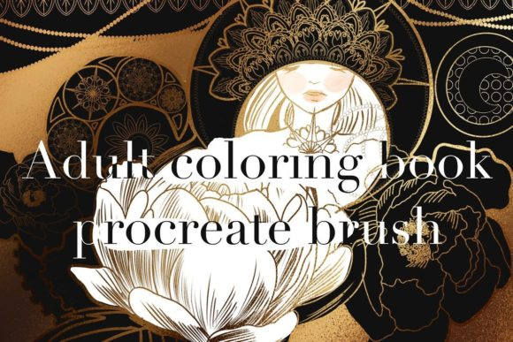 Print on Demand: Adult Coloring Book Procreate Brush Graphic Brushes By meisanmui