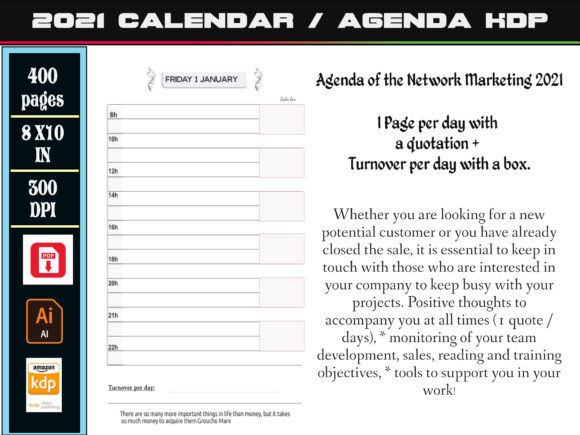 Print on Demand: Agenda of the Network Marketing 2021 Graphic KDP Interiors By kdp Edition