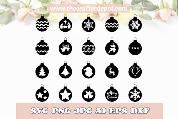 BUNDLE Christmas Ornaments Vector SVG Graphic Print Templates By TheCrafterDepot