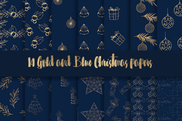 Print on Demand: Blue and Gold Christmas Digital Paper Graphic Patterns By beracaink
