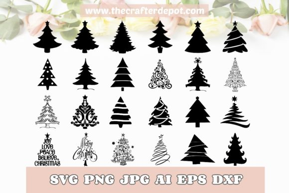 Bundle Christmas Trees SVG DXF PNG JPG Graphic Print Templates By TheCrafterDepot