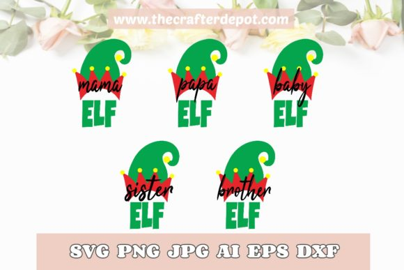 Bundle Family Elf SVG DXF PNG JPG AI EPS Graphic Print Templates By TheCrafterDepot