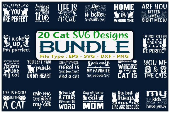 Cat SVG Design Bundle Graphic Print Templates By creative_store