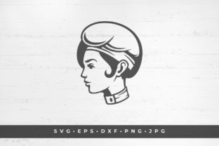 Chef Woman Head Icon Isolated on White Graphic Illustrations By vasyako1984