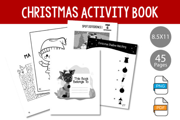 Print on Demand: Christmas Activity Book for KDP Interior Graphic KDP Interiors By IsaraDesign