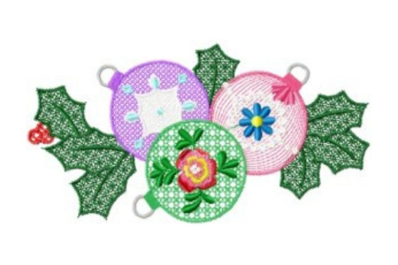 Christmas Baubles Christmas Embroidery Design By Sew Terific Designs