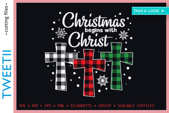 Print on Demand: Christmas Begins with Christ Plaid Cross Graphic Crafts By Tweetii