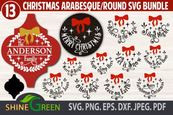 Print on Demand: Christmas Bundle Ornaments, Monogram Graphic Crafts By ShineGreenArt