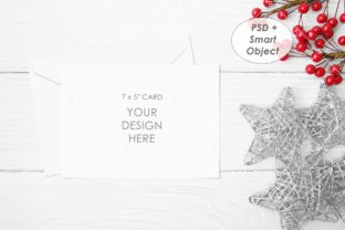 Christmas Card Mockup / 7″ X 5″ Card Graphic Product Mockups By thesundaychic