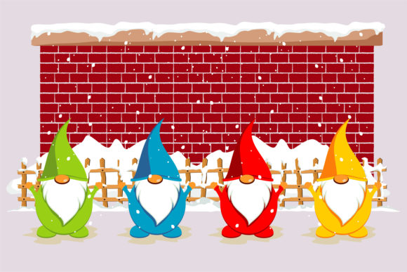 Print on Demand: Christmas Gnome in Snow Season Graphic Illustrations By edywiyonopp