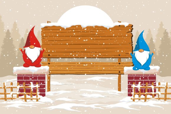 Print on Demand: Christmas Gnome with Sign Board on Snow Graphic Illustrations By edywiyonopp