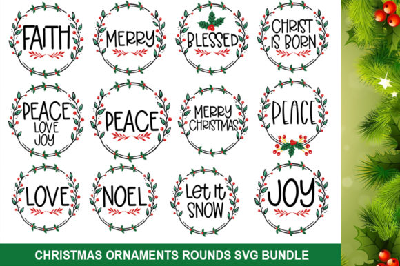 Christmas Ornaments Rounds Bundle Graphic Print Templates By Actionzone