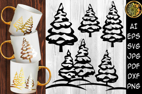 Print on Demand: Christmas Pine Tree Clipart Set 3 Graphic Illustrations By V-Design Creator