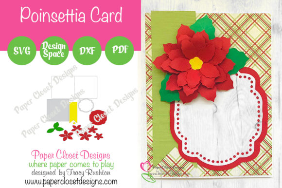 Print on Demand: Christmas Poinsettia Card Graphic 3D Christmas By rushton_tracy