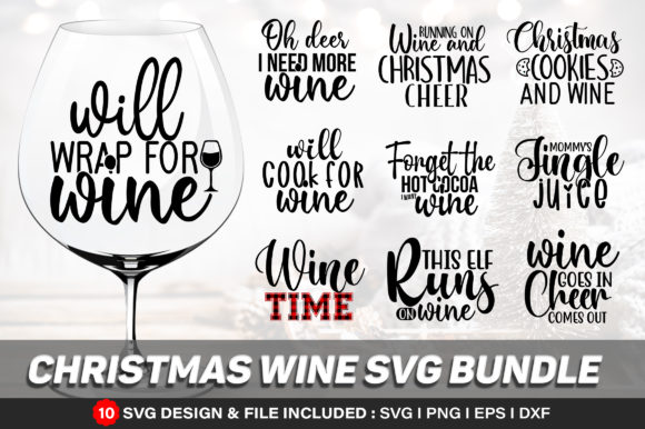Christmas Wine Bundle Graphic Print Templates By Actionzone