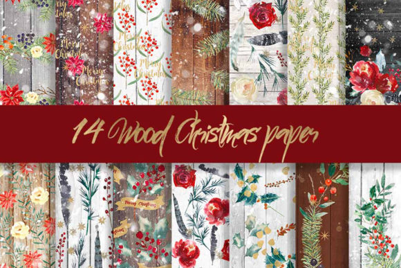 Print on Demand: Christmas Wood Digital Pattern Paper Graphic Patterns By beracaink