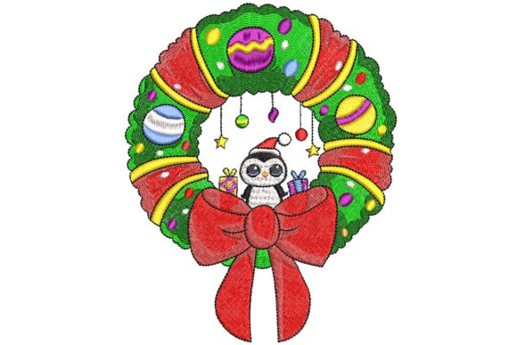 Christmas Wreath Christmas Embroidery Design By BabyNucci Embroidery Designs