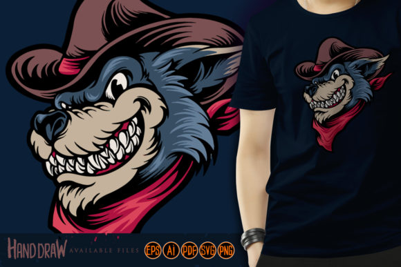 Print on Demand: Cowboy Wolf Western Mascot Graphic Illustrations By artgrarisstudio