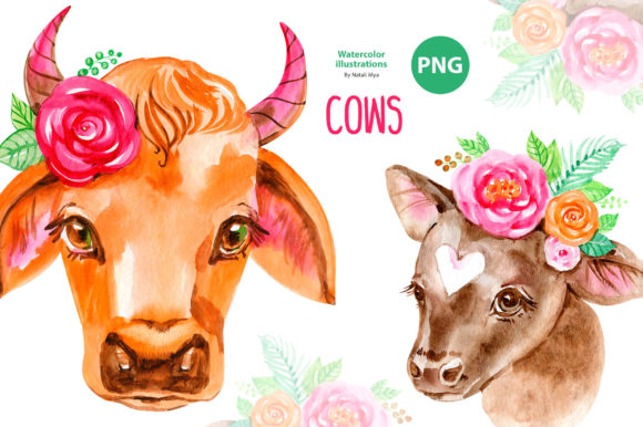 Cute Floral Cows Clipart Graphic Illustrations By NataliMyaStore
