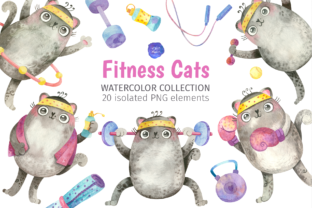 Print on Demand: Cute Fitness Cats in Gym Clipart Graphic Illustrations By ValinMalin