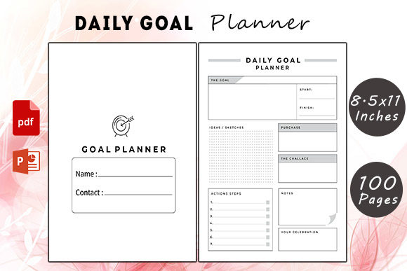 Daily Goal Planner Graphic KDP Interiors By KDP Successor