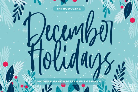 Print on Demand: December Holidays Script & Handwritten Font By goodjavastudio