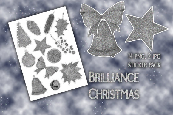 Diamond Glitter Christmas Stickers Graphic Illustrations By outlander1746