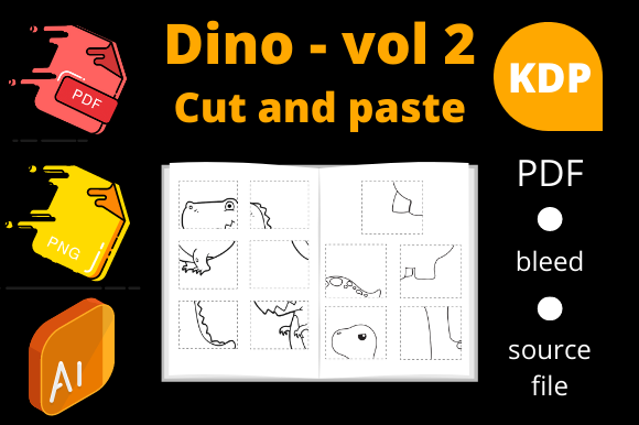 Print on Demand: Dinosaurs Cut and Paste, KDP Volume 2 Graphic KDP Interiors By Dunkyshot