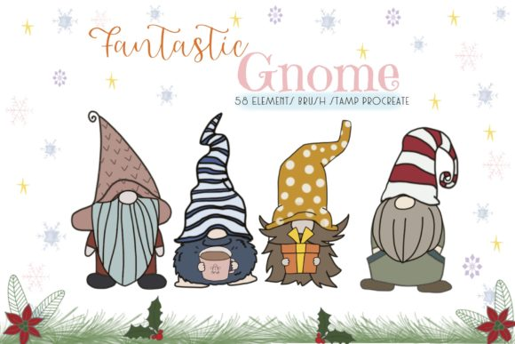 Print on Demand: Fantastic Gnome 58 Brush Stamp Procreate Graphic Brushes By Pui Pui