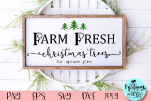 Farm Fresh Christmas Trees Wood Sign Graphic Objects By MidmagArt