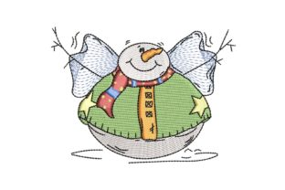 Fat Round Snowman Christmas Embroidery Design By BabyNucci Embroidery Designs