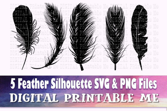 Print on Demand: Feather Silhouette SVG 5 Realistic Shape Graphic Crafts By DigitalPrintableMe
