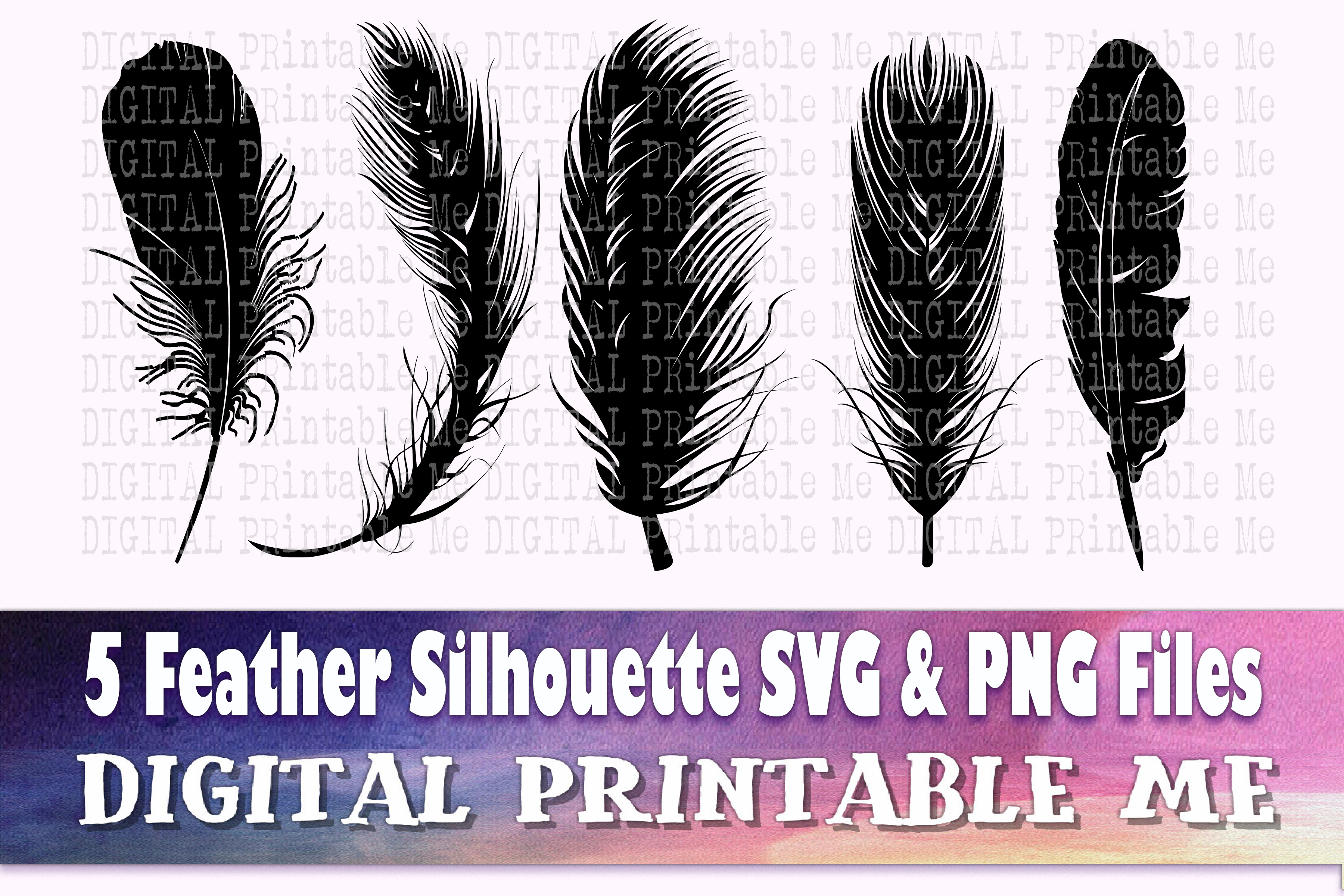Feather Silhouette SVG 5 Realistic Shape SVG File