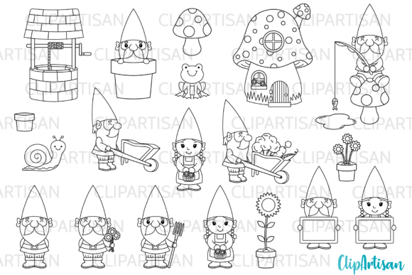 Garden Gnomes Clipart Gnome Stamps Graphic Illustrations By ClipArtisan