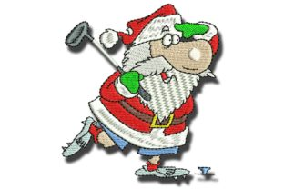 Golfing Santa Christmas Embroidery Design By BabyNucci Embroidery Designs