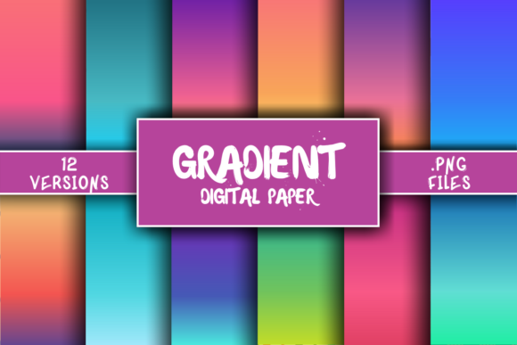 Print on Demand: Gradient Background Digital Paper Graphic Backgrounds By atlasart